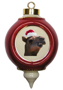 Camel Victorian Red and Gold Christmas Ornament