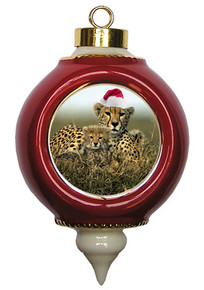 Cheetah Victorian Red and Gold Christmas Ornament