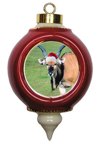 Eland Victorian Red and Gold Christmas Ornament