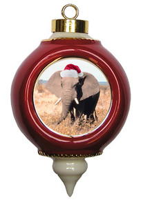Elephant Victorian Red and Gold Christmas Ornament