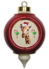 Giraffe Victorian Red and Gold Christmas Ornament