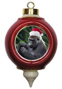 Gorilla Victorian Red and Gold Christmas Ornament