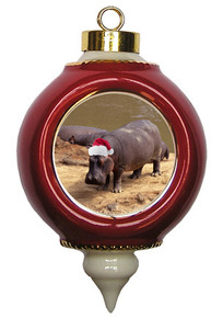 Hippo Victorian Red and Gold Christmas Ornament