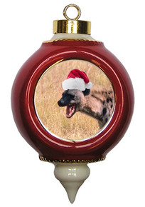 Hyena Victorian Red and Gold Christmas Ornament