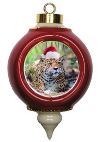 Jaguar Victorian Red and Gold Christmas Ornament