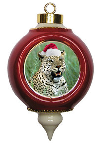 Leopard Victorian Red and Gold Christmas Ornament