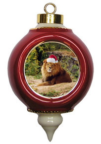 Lion Victorian Red and Gold Christmas Ornament
