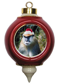Monkey Victorian Red and Gold Christmas Ornament