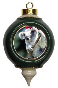 Koala Bear Ceramic Victorian Green and Gold Christmas Ornament