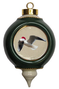Black Headed Gull Victorian Green and Gold Christmas Ornament