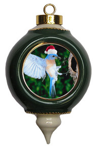 Bluebird Victorian Green and Gold Christmas Ornament