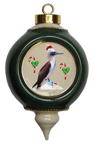 Blue Footed Booby Victorian Green and Gold Christmas Ornament