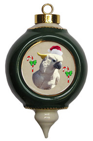 Cockatoo Victorian Green and Gold Christmas Ornament