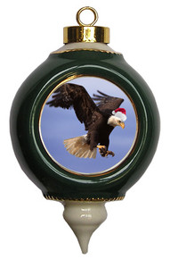 Eagle Victorian Green and Gold Christmas Ornament