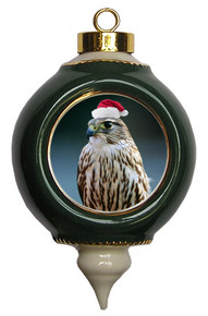 Falcon Victorian Green and Gold Christmas Ornament