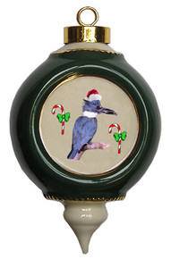 Belted Kingfisher Victorian Green and Gold Christmas Ornament