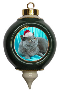 British Shorthair Cat Victorian Green & Gold Christmas Ornament