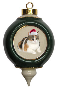 Calico Cat Victorian Green & Gold Christmas Ornament