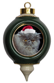 Persian Cat Victorian Green & Gold Christmas Ornament