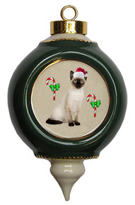 Siamese Cat Victorian Green & Gold Christmas Ornament