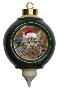 Tabby Cat Victorian Green & Gold Christmas Ornament