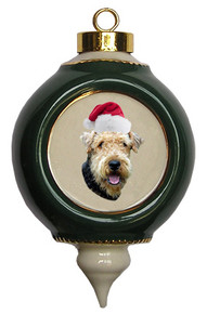Airedale Victorian Green & Gold Christmas Ornament