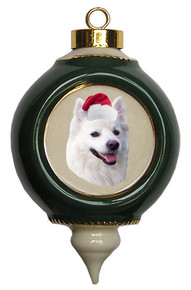 American Eskimo Dog Victorian Green & Gold Christmas Ornament