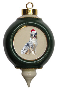 Australian Shepherd Victorian Green & Gold Christmas Ornament