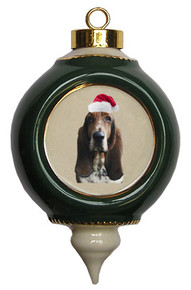 Basset Hound Victorian Green & Gold Christmas Ornament