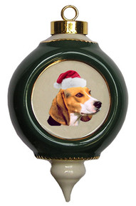 Beagle Victorian Green & Gold Christmas Ornament