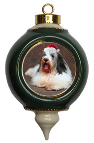 Bearded Collie Victorian Green & Gold Christmas Ornament
