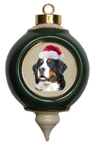 Bernese Mountain Dog Victorian Green & Gold Christmas Ornament