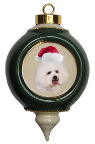 Bichon Victorian Green & Gold Christmas Ornament