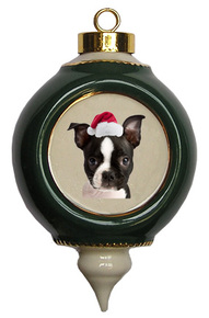 Boston Terrier Victorian Green & Gold Christmas Ornament