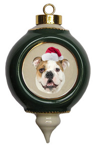 Bulldog Victorian Green & Gold Christmas Ornament