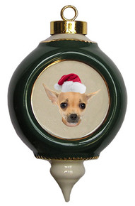 Chihuahua Victorian Green & Gold Christmas Ornament