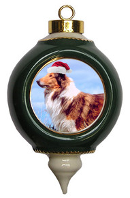 Collie Victorian Green & Gold Christmas Ornament