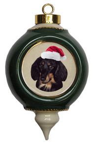 Dachshund Victorian Green & Gold Christmas Ornament