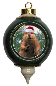 Beaver Victorian Green and Gold Christmas Ornament