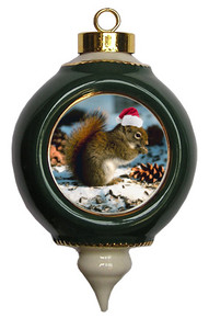 Squirrel Victorian Green and Gold Christmas Ornament