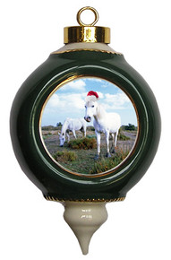 Camargue Victorian Green and Gold Christmas Ornament