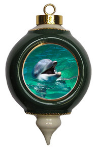Dolphin Victorian Green and Gold Christmas Ornament