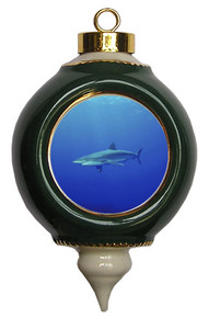 Shark Victorian Green and Gold Christmas Ornament