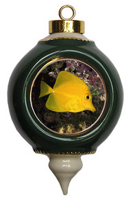 Yellow Tang Victorian Green and Gold Christmas Ornament