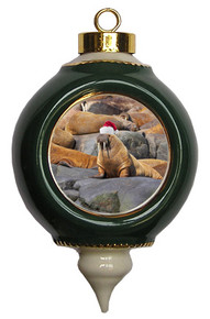 Walrus Victorian Green and Gold Christmas Ornament