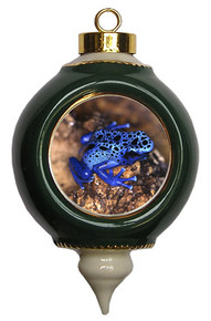 Blue Frog Victorian Green and Gold Christmas Ornament