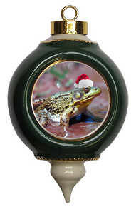 Green Frog Victorian Green and Gold Christmas Ornament