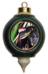 Mangrove Snake Victorian Green and Gold Christmas Ornament