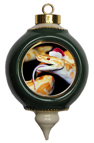 Python Snake Victorian Green and Gold Christmas Ornament
