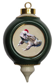 Toad Victorian Green and Gold Christmas Ornament